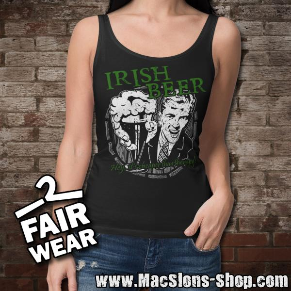 "Irish Beer ""Hey, It's Cheaper Than Therapy"" Girly-Tank-Top (black)"