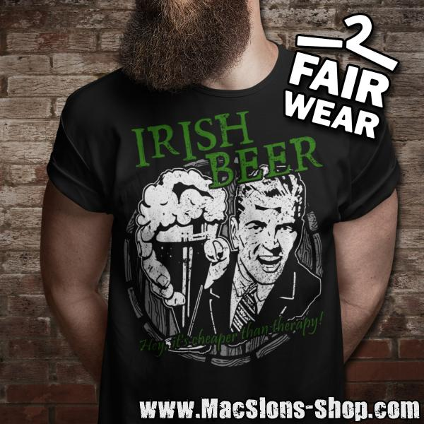 "Irish Beer ""Hey, It's Cheaper Than Therapy"" T-Shirt (black)"