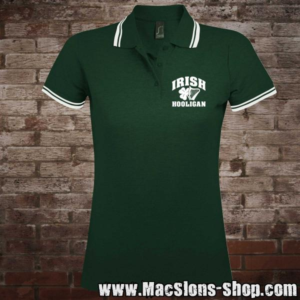 """Irish Hooligan"" Girly-Polo-Shirt (green-white)"
