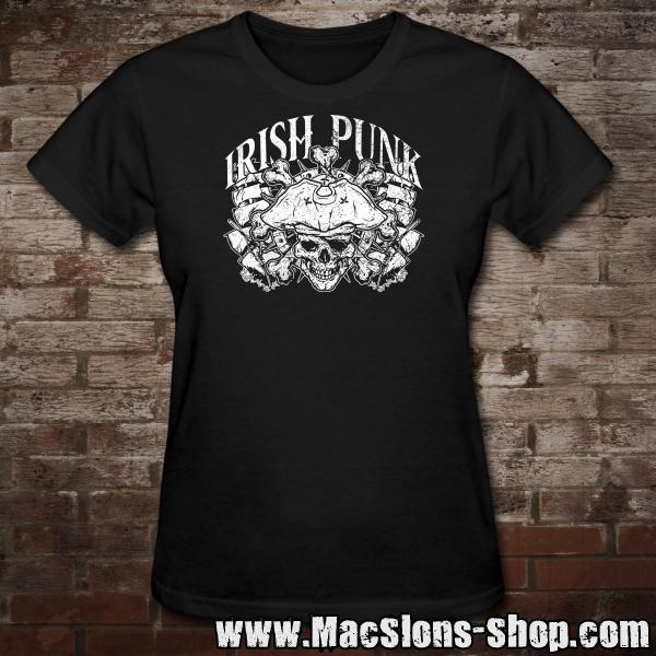 """Irish Punk"" Girly-Shirt (black)"