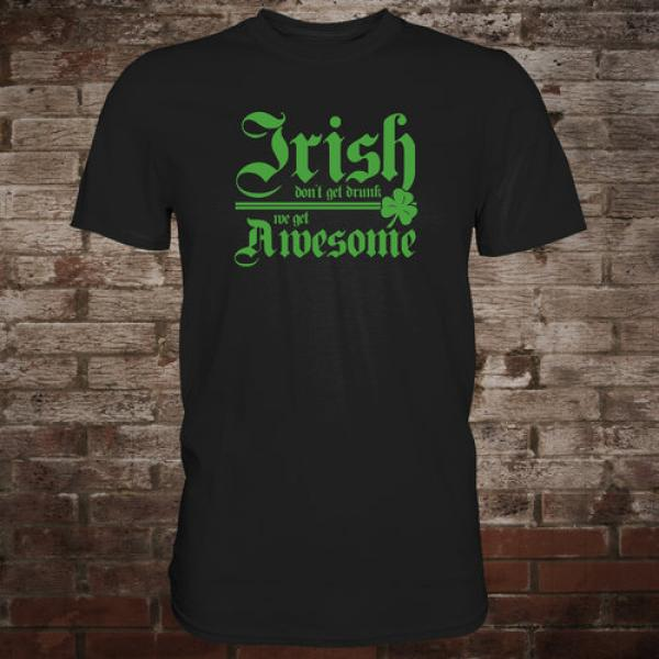 """Irish Awesome"" T-Shirt (black/green)"