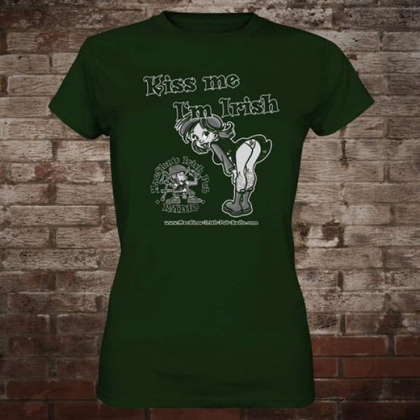 "MacSlon's ""Kiss Me I'm Irish"" Girly-Shirt (green)"