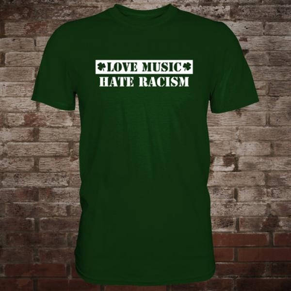 """Love Music - Hate Racism"" T-Shirt (green/white)"