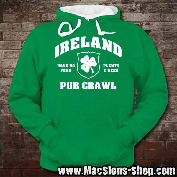 "Ireland ""Pub Crawl"" Contrast Hoodie (kelly green/white)"