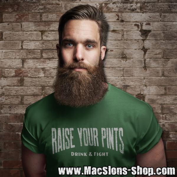 "Raise Your Pints ""Drink & Fight"" T-Shirt (green)"
