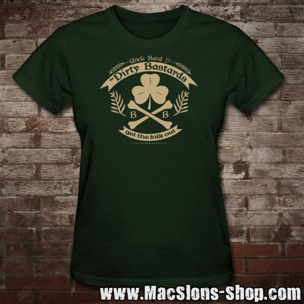 "Uncle Bard & the Dirty Bastards ""Get The Folk Out"" Girly-Shirt (green)"
