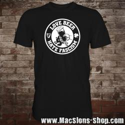"""Love Beer - Hate Fascism"" T-Shirt (black/white)"