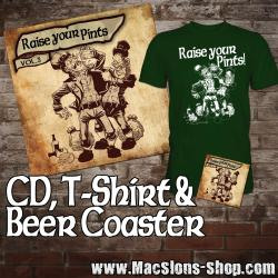 "V.A. ""Raise Your Pints Vol.5"" CD, BeerCoaster, T-Shirt - Bundle (lim. 50, green)"
